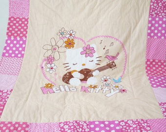 Hello Kitty quilt blanket , personalized baby blankets , personalized quilt , homemade quilt , baby quilt for sale , girl bedding