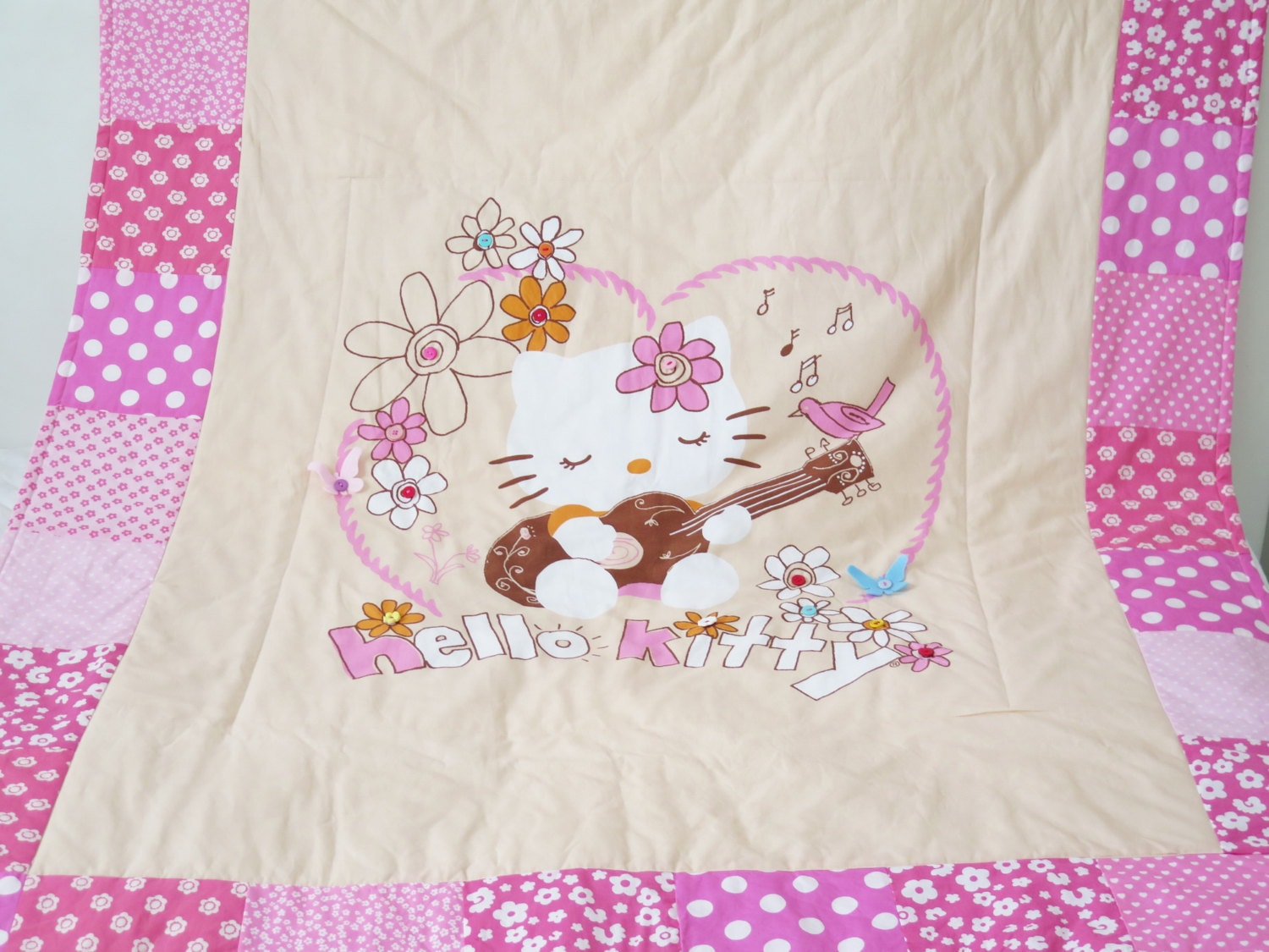 Hello kitty quilt blanket personalized baby blankets zoom negle Image collections