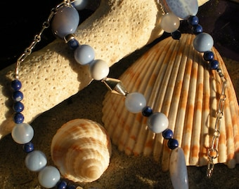 Cool Waters necklace, blue agate, denim lapis, blue fire agate, sterling silver