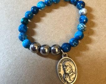 Mother Teresa, St Teresa of Calcutta, Special (Petite) Size, Dyed Blue Agate, Single BSBC Stretch Bracelet