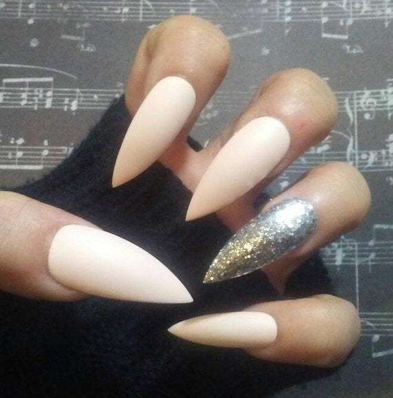 Nude White Matte Stiletto Nails & Silver Glitter, Long or Short ...
