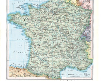 vintage map of  France from the 1950's