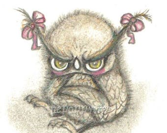 Grumpy Owl ---ACEO Print ATC cute Halloween Art