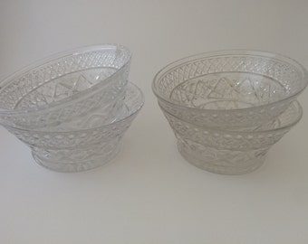 Etched Glass Custard Dishes - Set of 4, Clear Glass Dessert Bowl, Sunday Dish, Fruit Bowl