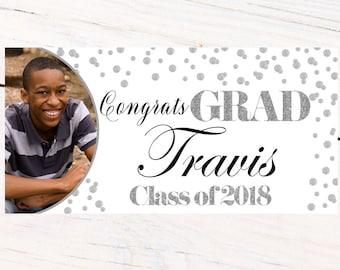 Class of 2018 Graduation Banner ~ Congrats Grad Personalized Banners -School Colors Graduation Banner, White and Silver Photo Grad Banner