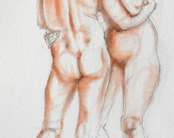 Nude pencil drawing with terracotta pastel. Life sketch. Two figures, male & female. Dancing nudes, couple.  Art by Nancy Farmer. 2011-14