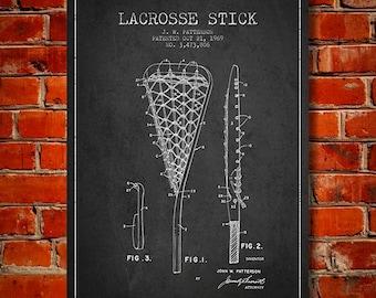 1969 Lacrosse Stick Patent, Canvas Print,  Wall Art, Home Decor, Gift Idea