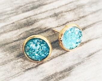 Turquoise Blue Druzy Earrings,  Resin Druzy Earrings, Gemstone Earrings, Druzy Stud Earrings, Gold Druzy Jewelry