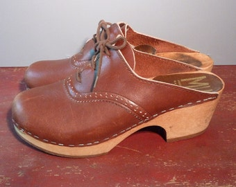 Vintage MIA Swedish Wooden Sole Leather Clogs - Size 8