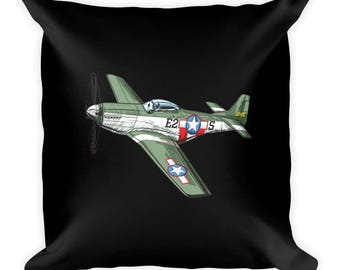 WWII P51 Mustang and British Spitfire Airplane Pillow Black