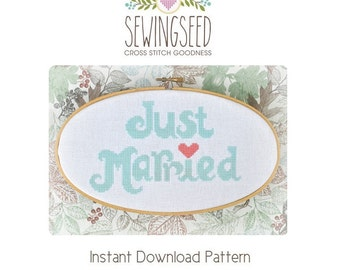 Just Married Wedding Cross Stitch Pattern Instant Download