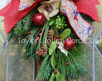 Texas Christmas Swag - Mini Door Swag - Burlap Door Swag - Wreath Alternative - Texas Gift - Tiny Home Christmas - Rustic Christmas Wreath