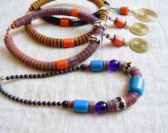 African Upcycled Vinyl Necklace | ethnic, tribal | recycled | brass dangle, discs, resin beads | handmade in Kenya