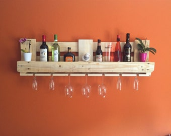 Upcycling pallet shelf wine rack bar pine nature from euro pallet pallet furniture vintage shelf 120x35cm