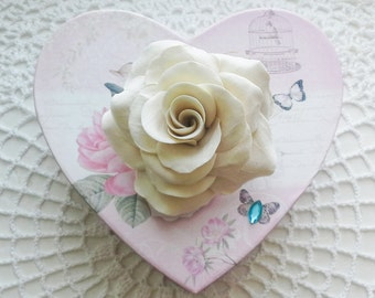 Rose hair flower Rose hair clip Wedding hair flower Beige rose hair flower Bridal hair flower Wedding rose Wedding hair accessory Ivory rose