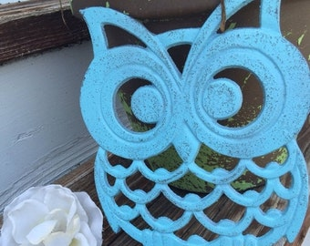 ON SALE, SPRING Sale Owl Trivet/ Cast Iron Owl Trivet/ Large Owl Trivet/ Blue Owl Trivet/ Kitchen Decor