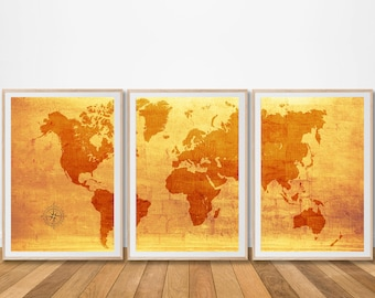 World map canvas set of 3 prints piece print poster painting world map canvas set of 3 prints piece print poster painting extra large rustic antique wall art digital office vintage living decor room gumiabroncs Images