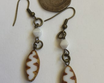 Caramel and white picasso table cut Czech glass bead earrings