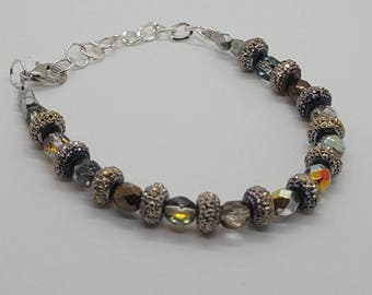 Beaded holiday silver plated bracelet