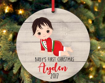 Baby Boy First Christmas Ornament, Personalized Christmas Ornament, Custom Ornament, Black Hair Baby Boy Christmas Ornament (0104)