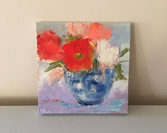 "Flower Vase- Painting 8 x 8 Stretched Canvas- Original Painting- painted 3/4""edge ready to hang or frame- Oil Painting"