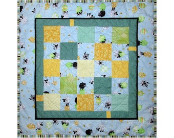 Baby Quilt, Nursery Bedding, Handmade Toddler Blanket, Shower Gift, Wheelchair Quilt, Blue, Green, Sheep, Quiltsy Lewe The Ewe Challenge
