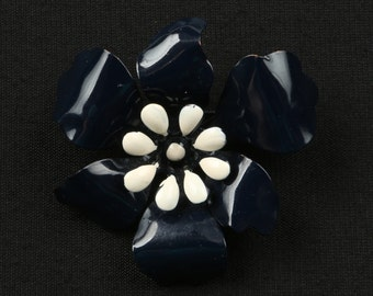 "1960's Navy Enamel Flower Brooch With White enamel Stamens and Center, Excellent Condition, 2-1/2"" Diameter, Roll Over Clasp."