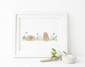 Baby Bunnies Art Print / Watercolor / Nursery Decor / Gifts for Girls / Bunny Art / Gifts for Her / Gifts for Moms / Baby Shower Gifts