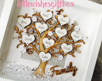 Personalised Family Tree box frame, wooden tree, freestanding or wall hung, hearts, up to 12 names added, personalised, handmade