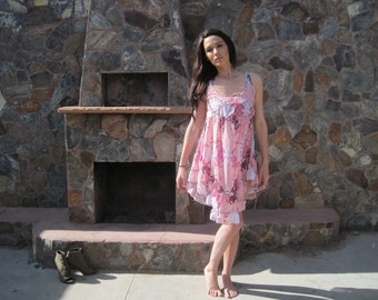 The Julie Dress - Pink Semi-sheer Chiffon Dress with Ruffles - Extra Small - FINAL SUPER SALE !!!