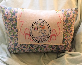 Vintage Feedsack Pillow             FREE SHIPPING