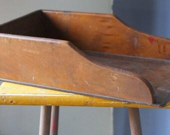 Vintage EAMES ERA Industrial 1960's Wooden desk File Organiser