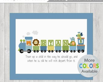 Kids personalized printable prayer wall art with childs boys personalized train diy printable 8x10 with bible verse baptism date birth info negle