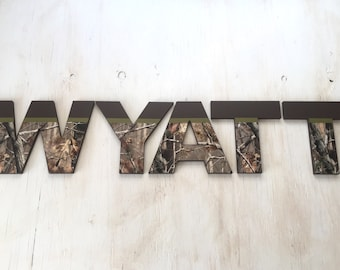 """Camo Name Letters 8"""" - Camo Wood Letters - Camo Name - Kid's Camo Room - Nursery Name Letters - Camouflage Room Decor - Priced Per Letter"""