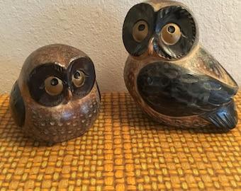 OMC Owl Figurines Set of 2 Vintage Ceramic Japan