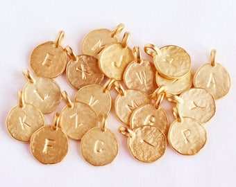 1 Matte Gold Initial Charm 12mm-Vermeil Letter Pendant-Gold Sterling Silver Letter Charm-Custom Hammered Gold Initial Disc Charms-Arial Font