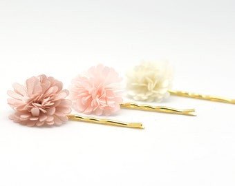 Flower Hairpins | Organza Flower Pins | Floral Pins | Blush Pink Cream | Gift for Mom | Gift for Her | Decorative Hairpins | Bridesmaid Gift