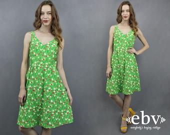 Vintage Malia Dress 1970s Sundress 70s Sundress Summer Dress Green Dress Malia Honolulu Floral Dress 1970s Dress 70s Dress V Neck Dress S