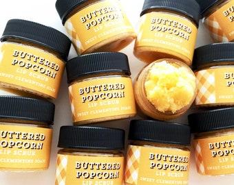 Popcorn Lip Scrub, Lip Balm, Lip Polish, Avocado Butter Polishing Buttered Popcorn Lip Scrub