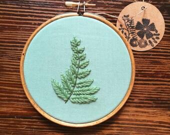 Hand Embroidered - 4 inch hoop - Botanical Leaf