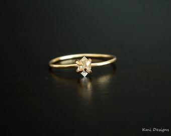 Herkimer Diamond, Promise Ring, Tiny Diamond Ring, Herkimer Diamond Engagement Ring, Tiny Herkimer Ring, Wedding Gold Ring, April Birthstone