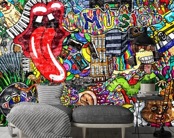 Removable Wallpaper Mural Peel & Stick Self Adhesive Wallpaper Music Collage on a Large Brick Wall Graffiti