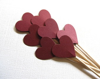 24 Dark Red/ Burgundy Heart Cupcake Toppers, Weddings, Showers, Party Decor, Double-Sided, Autumn, Fall, Valentine's Day