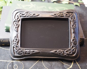Celtic Knotwork Black Scrying Mirror For Divination  - Pagan, Wicca, Witchcraft, Ritual, Magic - Upcycled Irish Peat Turf Frame