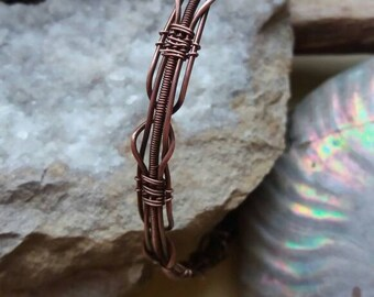 Copper bracelet, Wire wrapped bracelet, Copper bangle, Cuff bracelet