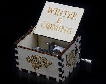 Engraved Handcrafted Wooden Music Box - Game of Thrones Winter Is Coming