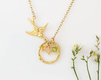 Gold Bird Nest Pendant, Custom Birthstone Necklace, Gift for Mom, Mama Bird Necklace, One of a Kind Gift, Grandma Necklace, Unique Gift