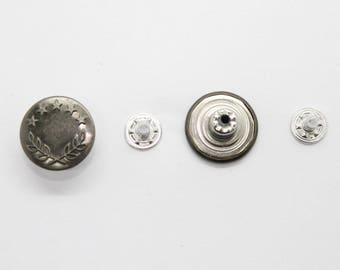 Jean Stud Buttons - 8  x 17mm  - With Pins Hammer on denim Silver - Bronze - Gunmetal