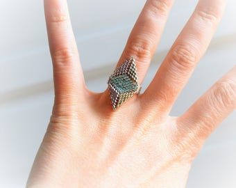 Woven with Miyuki Delicas beads silver plated ring