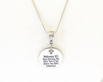 Keep Running The Race That Is Set Before You With Endurance Silver Necklace, Heb 12:1 Scripture Jewelry Gift, Bible Verse Jewelry For Her
